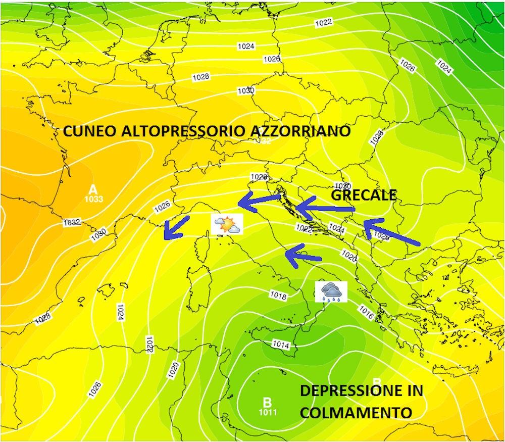 Nomi dei venti - Il grecale dopo il dislocamento della depressione verso Sud