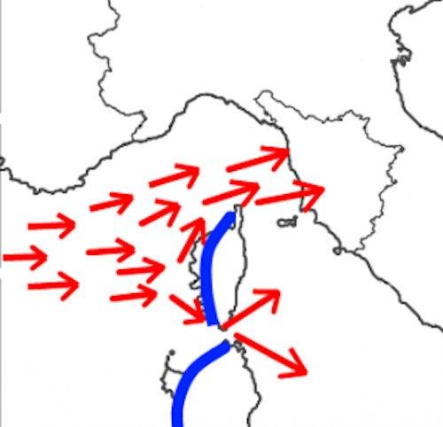 Nomi dei venti - La deviazione del Libeccio in Ponente dovuta alla Corsica