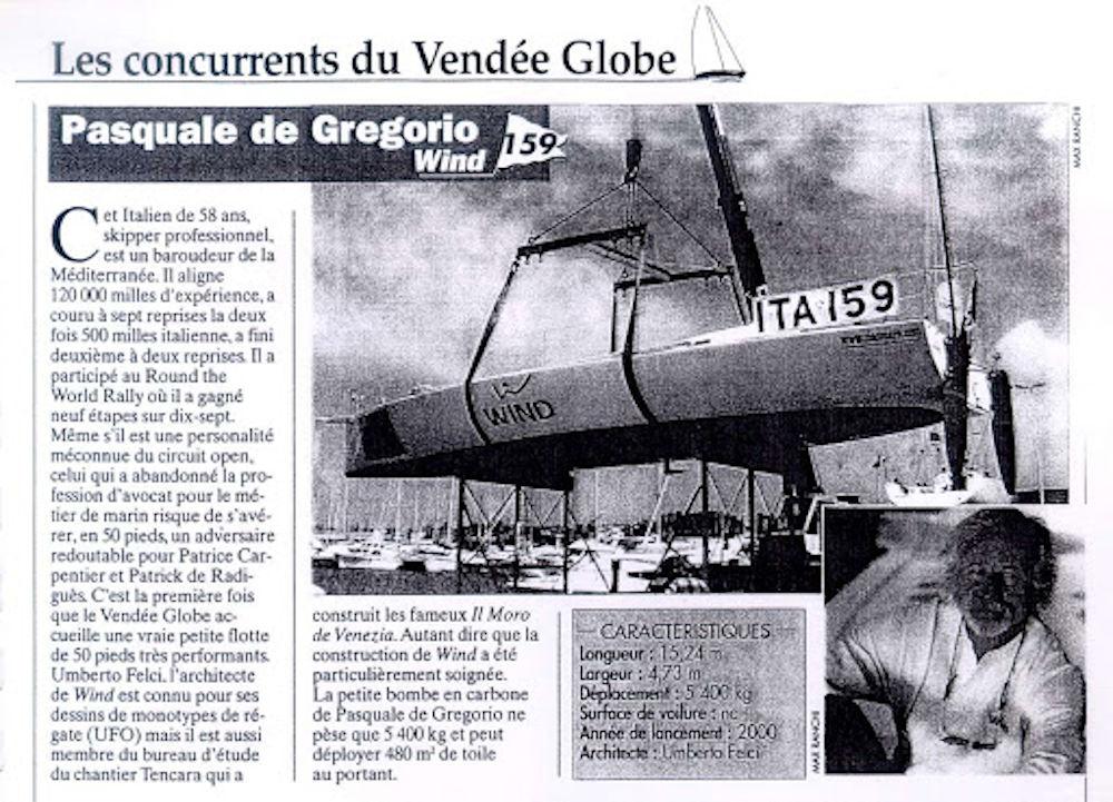 Pasquale De Gregorio - Articolo francese sull'iscrizione alla Vendée Globe
