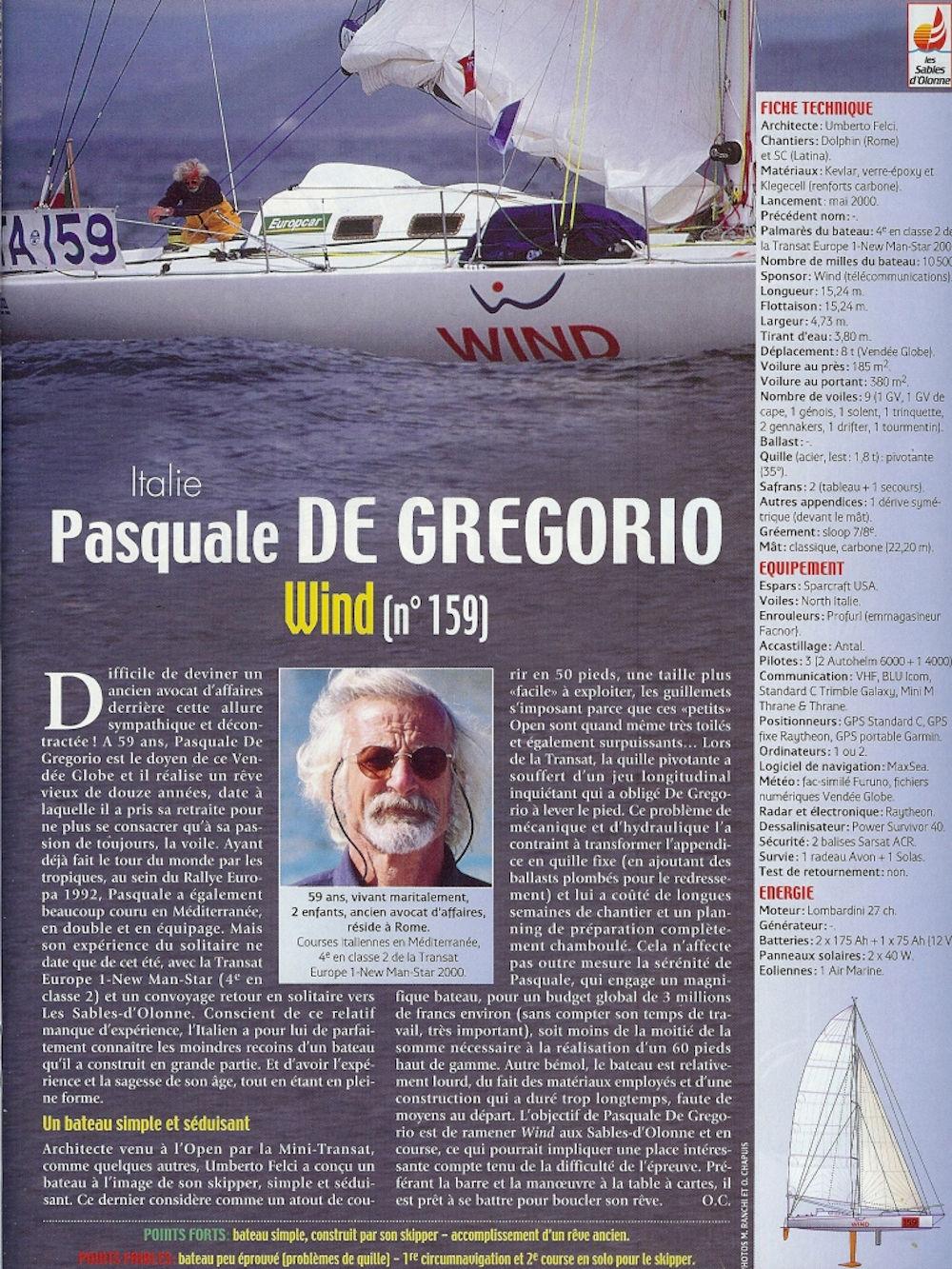 Pasquale De Gregorio - Scheda iscrizione Vendée Globe